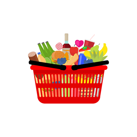 Vector illustration of supermarket shopping basket full food, meal and drink. Picture isolated on white background. Red plastic shopping bag, box complete products. Flat style. Side view. Illustration