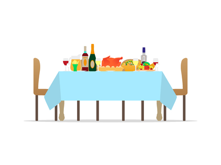 Vector illustration table for festive holiday romantic dinner. Banquet table with drinks and eating fruit. Flat style. Isolated on white background. Decorating feast dinner with various dishes.