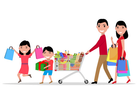 happy shopper: Vector illustration cartoon happy family shopping in a supermarket. Parents with their children make purchase in store. Isolated white background. Flat style. Side view, profile. Family shopper.