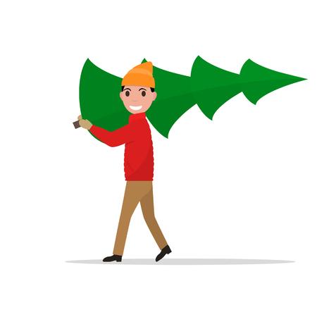 ilustración de dibujos animados hombre lleva un árbol de navidad. Humana tiene un abeto en la mano, en el hombro. Aislado. estilo plano.