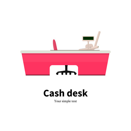 mart: illustration of colored cash desk. Icon cash register at a supermarket. Isolated on white  Flat style. Cashbox in the store. Rack for cash. Workplace for the cashier.