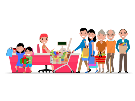 family mart: cartoon people doing shopping in supermarket. Customers in department store paying at cash register. Isolated  Flat style. Purchaser buys food products. Family is shopping at market.