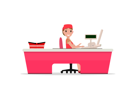 mujer en el supermercado: Vector illustration cartoon girl sitting behind the cash register. Cashier behind the counter in the supermarket. Seller at the store for cash desk, cash stand. Isolated white background. Flat style. Vectores