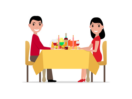 illustration cartoon romantic dinner by candlelight, meeting of man and woman. Rendezvous lovers. Meet beloved. Isolated white . Flat style. Guy and girl at festive table. Illustration