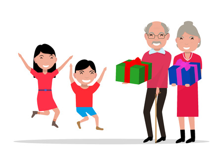 grandchildren: Vector illustration cartoon grandparents give their grandchildren gifts. Old people give children presents. Isolated on white background. Flat style. Happy girl, boy coming grandfather, grandmother.