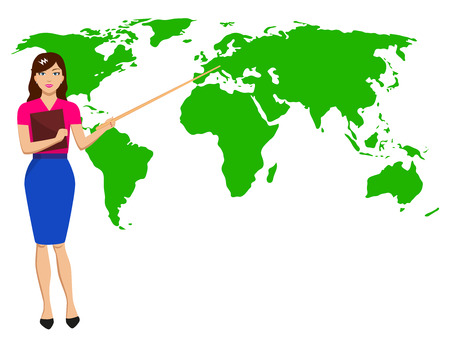 newscast: Vector illustration beautiful girl with a pointer shows the map of the world. Concept of a lesson of geography and weather forecast. Woman meteorologist broadcast on TV. Female report weather. Illustration