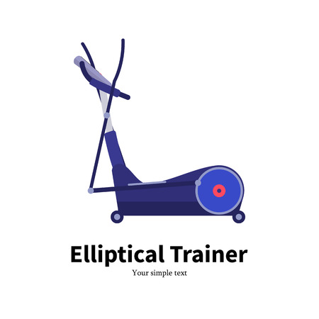 cross legs: Vector illustration cartoon elliptical trainer. Isolated on white background. Flat style. Side view, profile. Icon elliptical cross simulator. Training apparatus for legs.