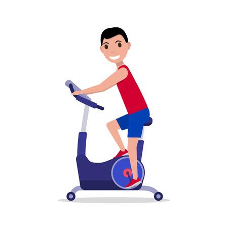 Ilustración del vector del deporte del hombre de dibujos animados en una bicicleta de ejercicio. Aislado en el fondo blanco. estilo plano. Vista lateral, perfil. El muchacho en la bicicleta simulador. Aparatos para las piernas. Hombre en la bicicleta estacionaria.