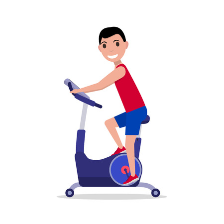 niño parado: Ilustración del vector del deporte del hombre de dibujos animados en una bicicleta de ejercicio. Aislado en el fondo blanco. estilo plano. Vista lateral, perfil. El muchacho en la bicicleta simulador. Aparatos para las piernas. Hombre en la bicicleta estacionaria.