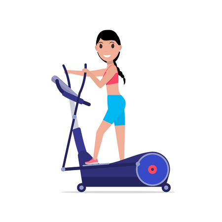 elliptical: Vector illustration cartoon beautiful girl trains on elliptical cross trainer. Isolated white background. Flat style. Side view, profile. Woman on elliptical cross simulator.