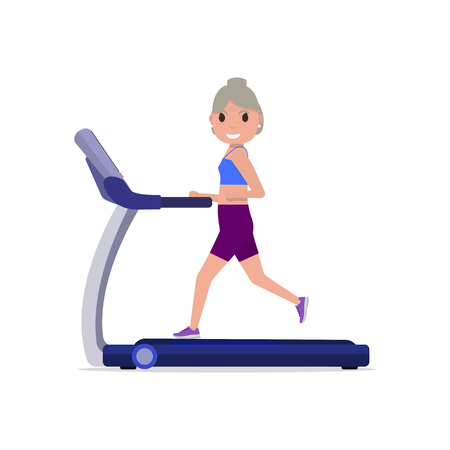 endurance run: Vector illustration cute cartoon grandmother running on treadmill. Sporty old woman on training apparatus running track. Isolated white background. Flat style. Side view profile. Grandma on simulator.