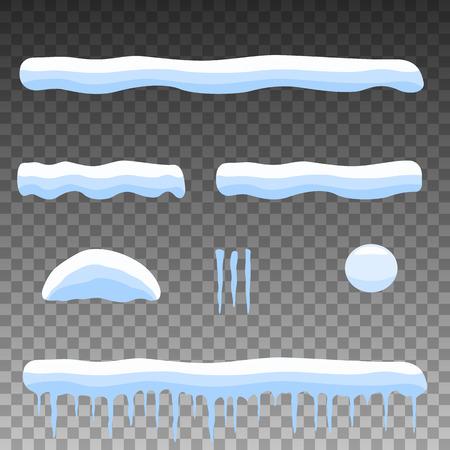 ベクトル図は、オブジェクト漫画雪、雪の吹きだまり、つららを設定します。フラット スタイル。透明な背景に分離されました。設計の冬の要素。
