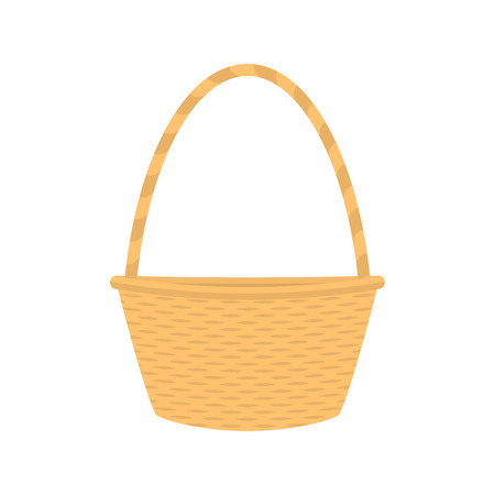 braided: Vector illustration cartoon straw wicker basket. Isolated on white background. Flat style. Empty decorative braided basket with handle. Braid pottle for picnic and products.