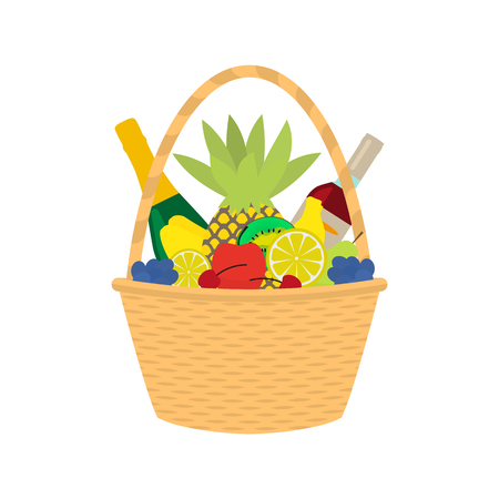 Vector illustration cartoon straw wicker basket with food. Isolated on white background. Flat style. Braided basket with champagne wine and fruit. Braid pottle with products. Illustration