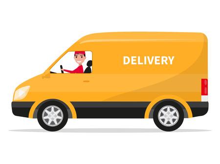 Vector illustratie van cartoon bestelwagen met deliveryman. Geïsoleerd op een witte achtergrond. Platte stijl. Zijaanzicht, profiel. Gele levering van de vrachtwagen. Koeriersdienst zit in de auto. Vrachtwagen.