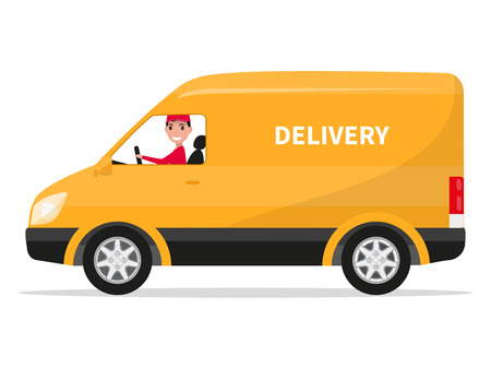 Vector illustration of cartoon delivery van with deliveryman. Isolated on white background. Flat style. Side view, profile. Yellow truck delivery. Courier delivery sitting in the car. Cargo auto.