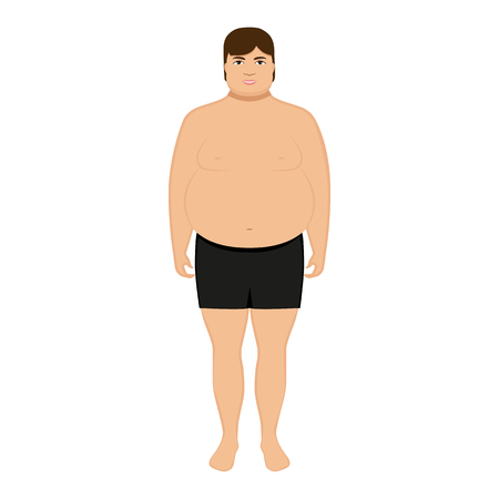 Vector illustration cartoon fat man. Isolated white background. Flat style. Concept of male obesity. Man overweight with a big belly. Obese human in underwear in shorts. Adult fatty big boy.