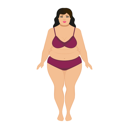 Vector illustration beautiful cartoon fat woman. Isolated white background. Flat style. Concept of female obesity. Woman overweight with a big belly. Obese human in underwear. Adult fatty big girl. Illustration