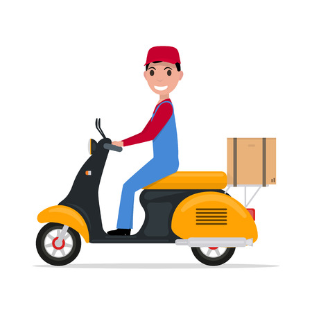 Vector illustration cartoon courier man carries box on scooter. Isolated white background. Flat style. Concept fast free delivery of goods. Boy on small motorcycle with box. Delivery man on a scooter.