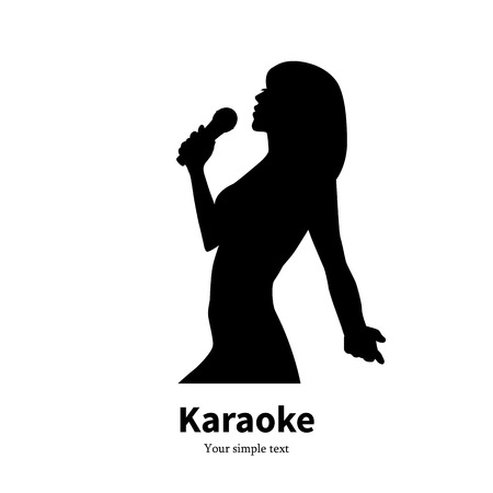 singing silhouette: Vector silhouette singing girl with a microphone