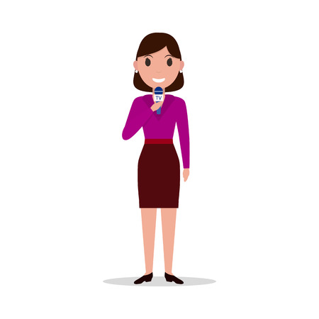 Vector cartoon girl reporter with a microphone Illustration