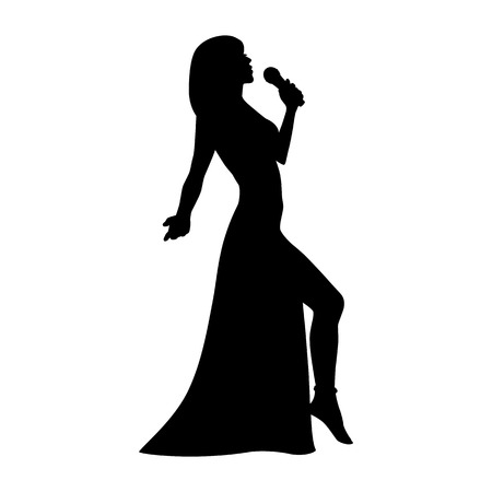 singing silhouette: Vector silhouette girl singing with a microphone