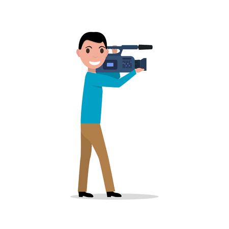 videographer: Vector cartoon professional videographer
