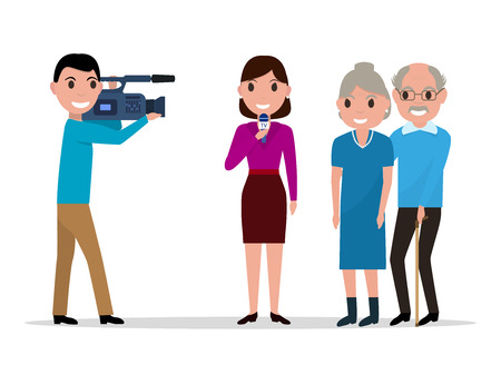 videographer: Cartoon journalist interviewing elderly