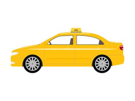 Vector illustration cartoon car yellow taxi