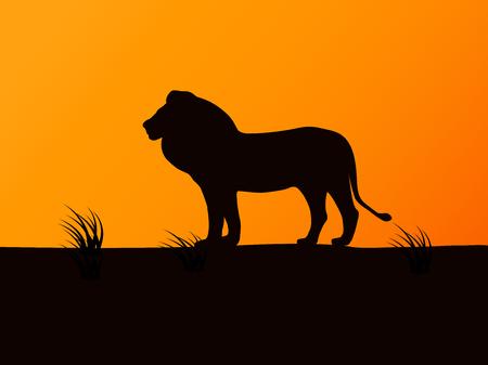 Vector silhouette leone sullo sfondo del tramonto Vettoriali
