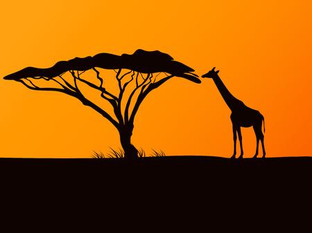 Black silhouette of a giraffe