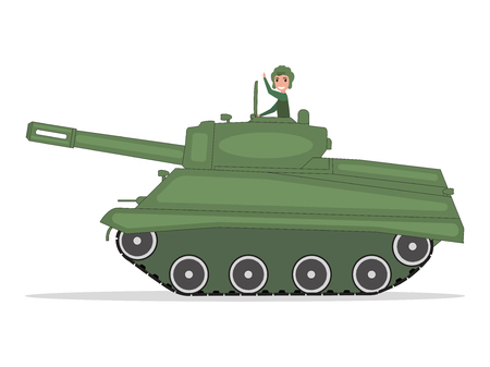 Vector man tanker traveling on a green tank Illustration
