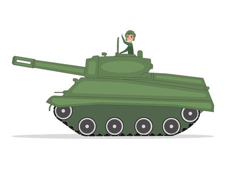 Vector man tanker traveling on a green tank Illustration