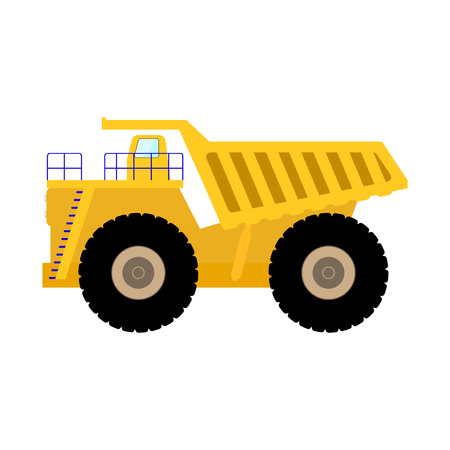 Vector illustration cartoon big heavy dump truck Stock Photo