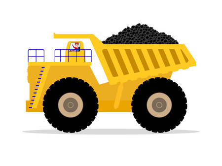 Vector dump truck with driver carries of coal