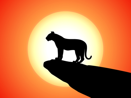 silueta tigre: Vector silhouette tiger standing on rock on sunset