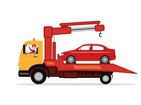 Vector man in tow truck driven emergency vehicle Illustration