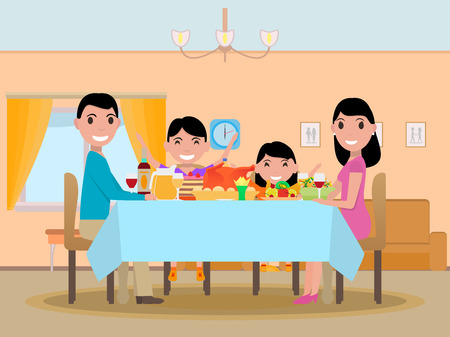 Vector cartoon happy family festive dinner table