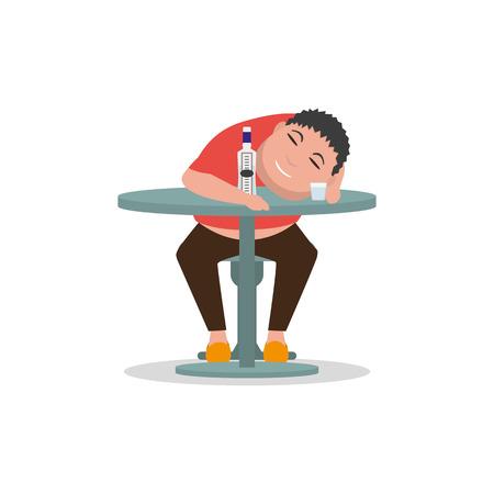 Vector cartoon drunken man sleeping on a table