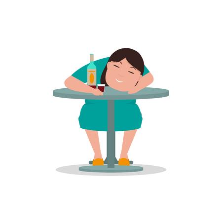 inebriation: Vector cartoon drunken woman sleeping table Illustration