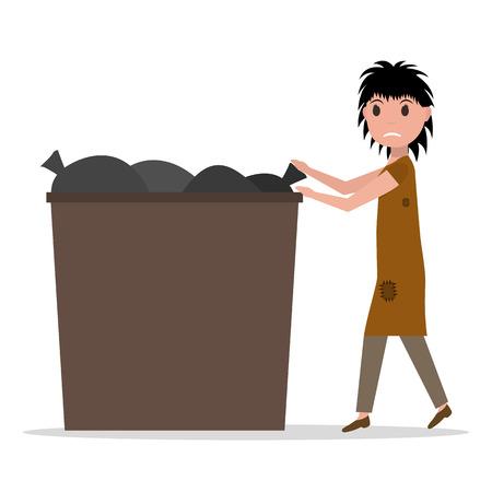 Vector cartoon hobo beggar jobless woman dumpster