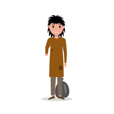 Vector cartoon woman indigent beggar, homeless Illustration