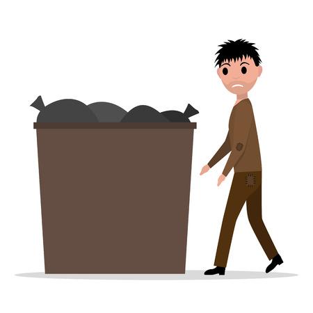 pauper: Vector cartoon hobo beggar jobless man dumpster