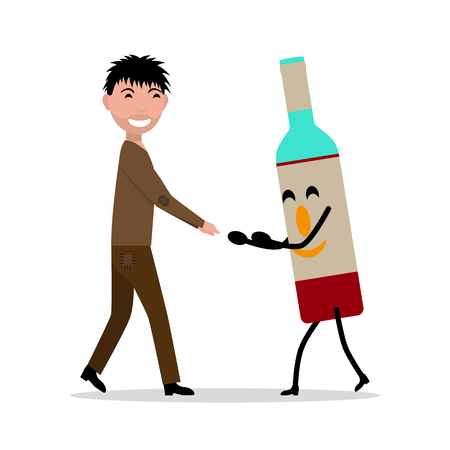 Vector cartoon young adult man with bottle alcohol