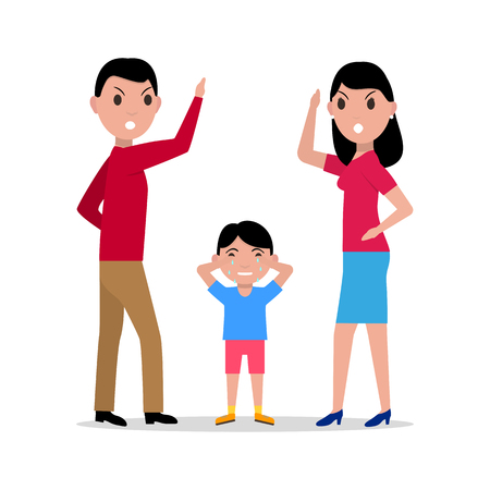 cursing: Vector cartoon angry parents swearing child