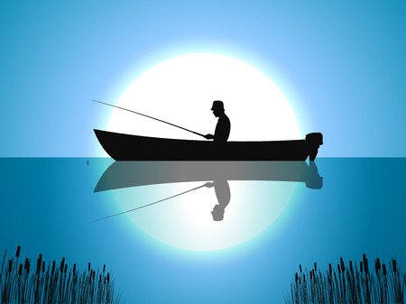 Vector background moon fisherman on boat fishes