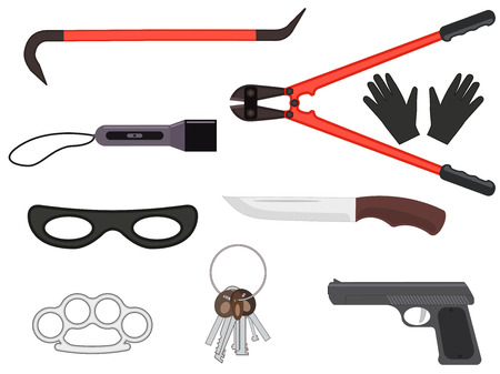 crowbar: Vector set of objects elements of a thief tools