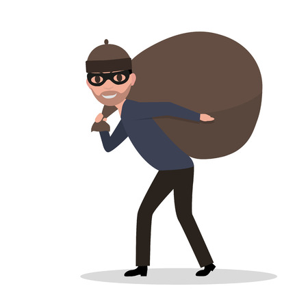 Vector cartoon male thief carrying bag with a loot Illustration