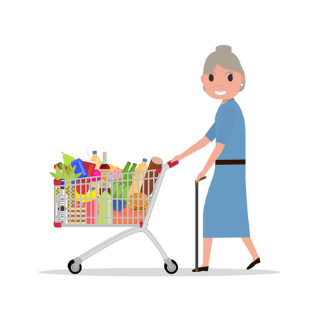 pushcart: Vector cartoon old woman with shopping trolley