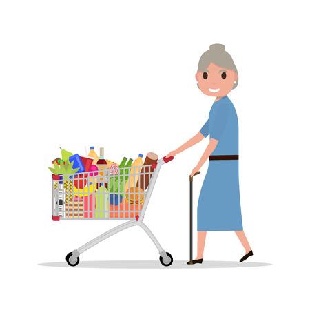 mujer en el supermercado: Vector de dibujos animados de edad mujer con carrito de la compra